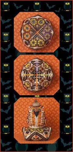 Tiny Owls Biscornu & Embellishments