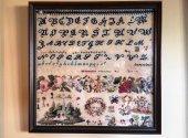 Band Of Roses 1845 Antique Sampler