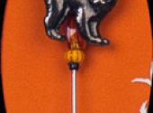 Spider Cat Charm Garden Pin